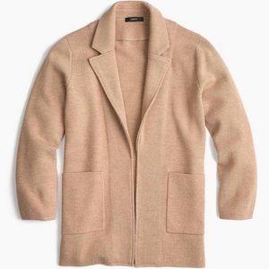 J Crew Camel sweater blazer open cardigan Wool